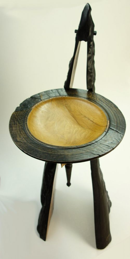 Oak Ceremonial Bowl on Yew Pedestal | John Hodgson
